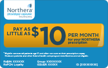 Pay as little as $10 a month for your Northera prescription